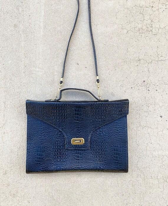 70s Briefcase Purse Leather Alligator Bag
