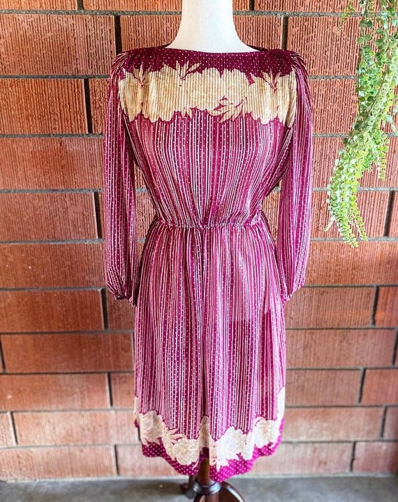 70s Nude Flower Burgundy Dress Size Medium