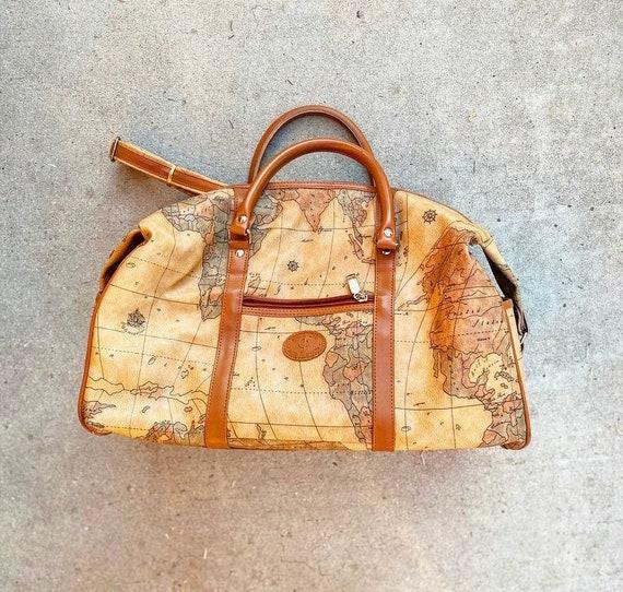 90s World Map Atlas Duffel Bag Faux Leather