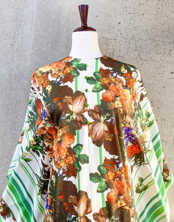 60s Muu Muu Butterfly Avocado Green Drape Dress /