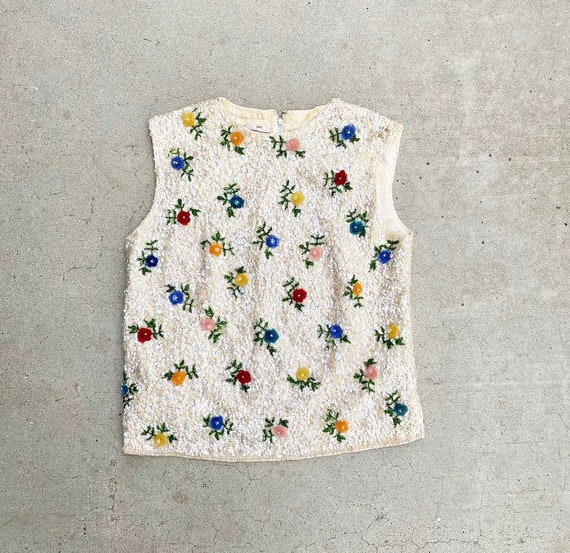 60s Detailed Sequins and Beading Top
