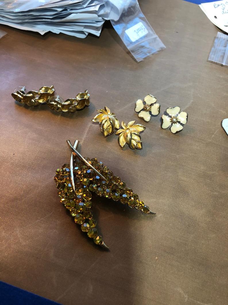 trifari jewelry enamel hoop earrings signed trifari Trifari amber crystal leaf brooch crystal glass dogwood earrings flower earrings