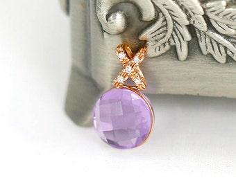 Diamant, Pierre Précieuse Améthyste Et Diamant Pendentif Et Earrings Set Argent Massif Firm In Structure