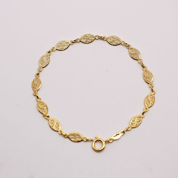 e40ca75790b40 Bracelet in 9k solid yellow gold 375 gold / 2.6g / 18cm Jewel filigree  Filigree bracelet