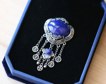 Pendant (no chain) 925 sterling silver set with natural set with lapis lazuli Tassel vintage style retro