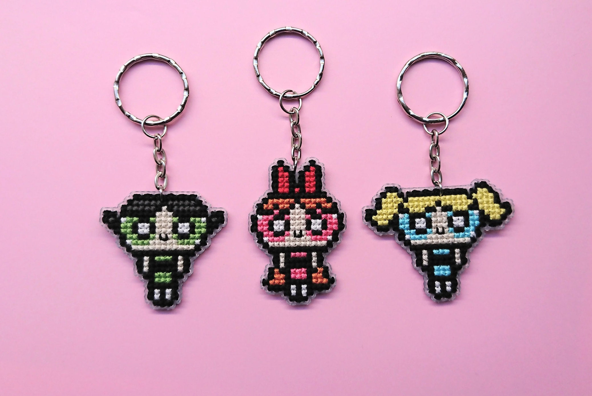 Powerpuff Girls cross stitch key chain double sided keychains | Etsy