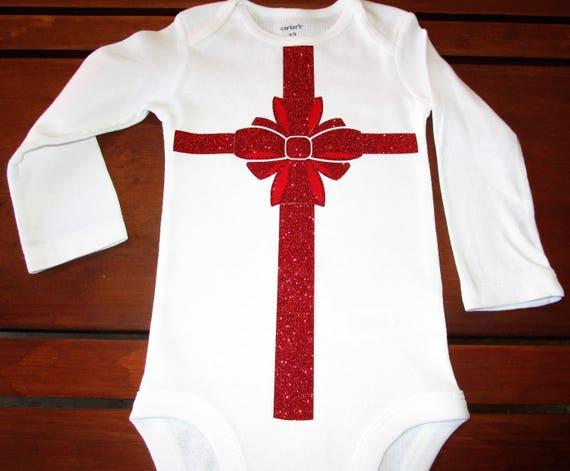 Christmas Present Glitter Bow Baby Onesie Baby Shower Gift Christmas Baby Onesie