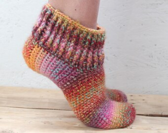 Crochet Women Slippers Rainbow Turkish Patik Gift for Women Crochet slippers Rainbow slippers woman gift Women's Slippers Gift women