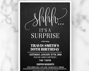 Surprise 30th Birthday Invitation Mens Party Invitations Invite Any Age Editable Template