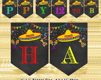 Mexican fiesta decorations diy | mexican fiesta party bunting flags | mexican fiesta party decorations | mexican fiesta banner editable