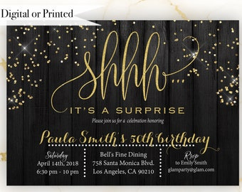 Surprise Birthday Invitations for Women. Gold and Black Invitation for Women. Gold Glitter Invites. Printed or Digital #GLP301_40
