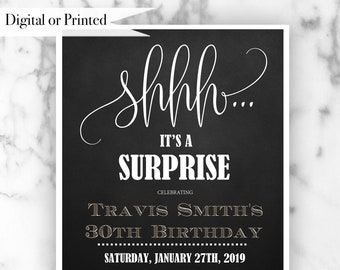 Surprise 30th Birthday invitation , Mens 30th Birthday Party Invitations, Mens 30th birthday , Printed Invitations or Digital