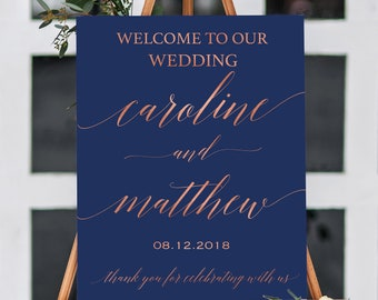 Personalized wedding sign printable. Large wedding sign. Welcome Rose gold, gold foil, navy and gold and any colors. CLR101_01