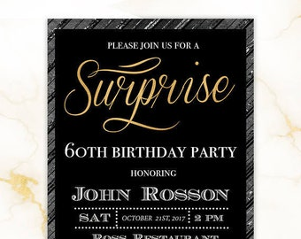 Surprise 60th Birthday Invitations - Surprise 30th Party Invitations - 30th 40th 50th 60th Any Age - Printed or Digital #GLP301_14