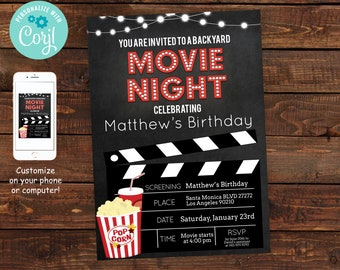 Movie invitation etsy printable backyard movie night party invitation movie night invitation movie night birthday party invitations diy party invitation filmwisefo