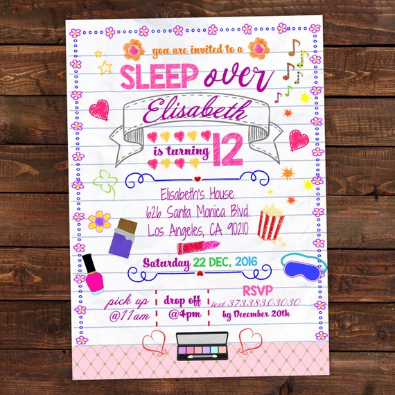 Printable Slumber Party Invitation Notebook Doodle Slumber
