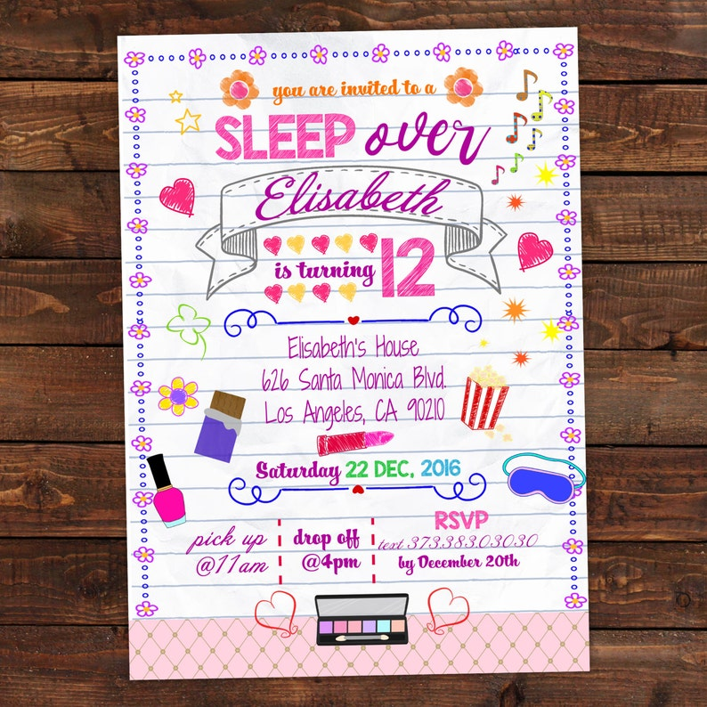 photo relating to Printable Slumber Party Invitations named Printable Rest Bash Invitation - Laptop computer Doodle - Rest invitation - Sleepover invitation - Sleepover bash . Editable PDF #DPI1299