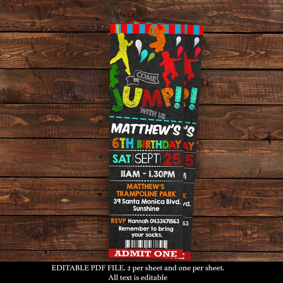ticket jump invitation for boy jump party invitations bounce