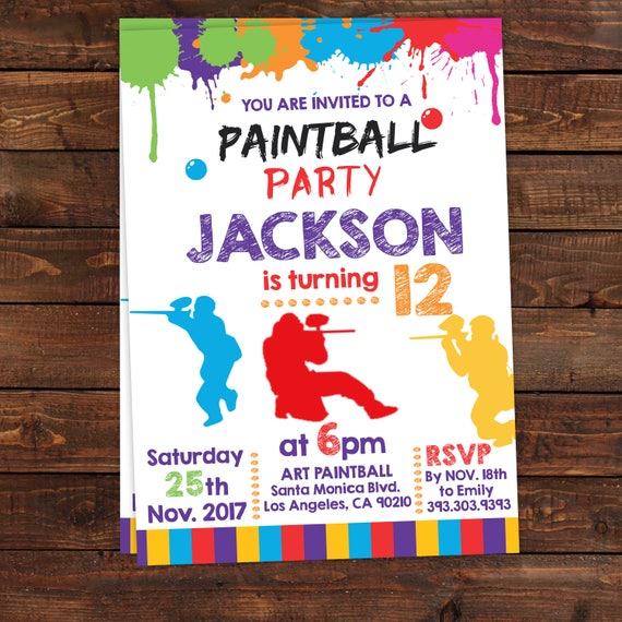 photograph relating to Free Printable Boy Birthday Invitations known as Printable Paintball Celebration Invites - Paintball Invitation