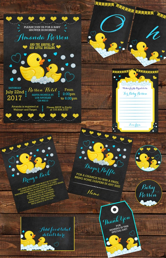 Party Set Printables Chalkboard Rubber Duck Baby Shower Boy | Etsy
