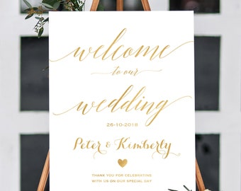 Gold foil welcome wedding sign printable. Large wedding sign. Rose gold, gold,  navy, black. Personalized Sign with any colors. CLR102_03