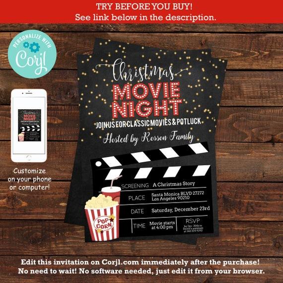 Christmas Movie Night Invitation Template Pajama Christmas