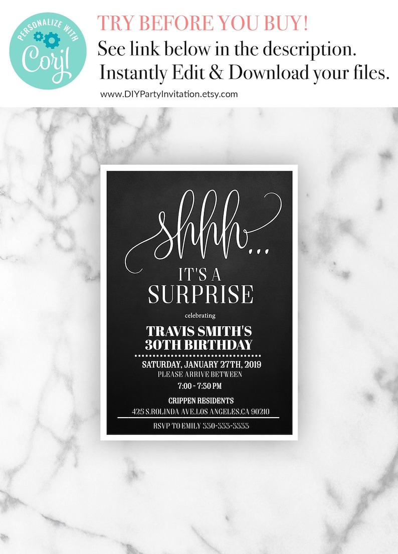 Surprise 30th Birthday Invitation Mens Party