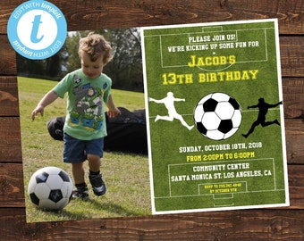 Soccer Photo Birthday Invitation - Soccer Birthday Invitations Boy's - Party Football Invites - Soccer Instant Download - Templett