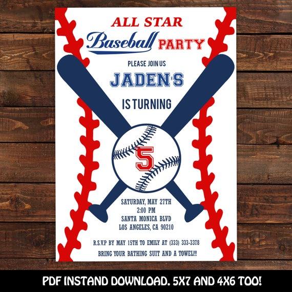 baseball invitation baseball party invitation printable baseball