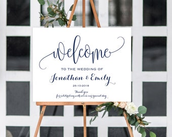 Navy welcome wedding sign printable. Custom large wedding sign. Navy or any colors. Personalize sign printable. Reception welcome #CLR112_01