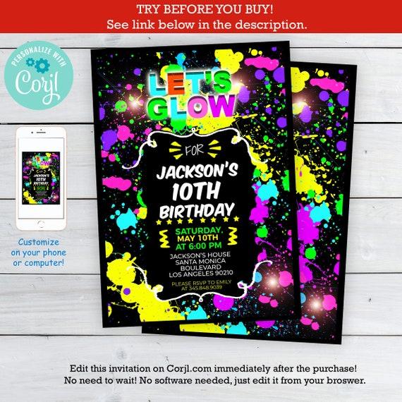 Glow in the dark invitations DIY Glow party invitations | Etsy