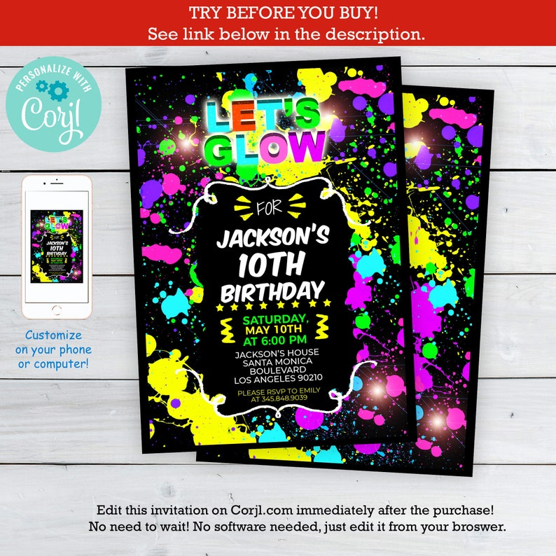 graphic relating to Etsy Printable Invitations known as Shine within just the dim invites - Do it yourself Shine celebration invites - Shine in just the darkish invite- Electronic Printable Invitation - Editable Terms upon Corjl