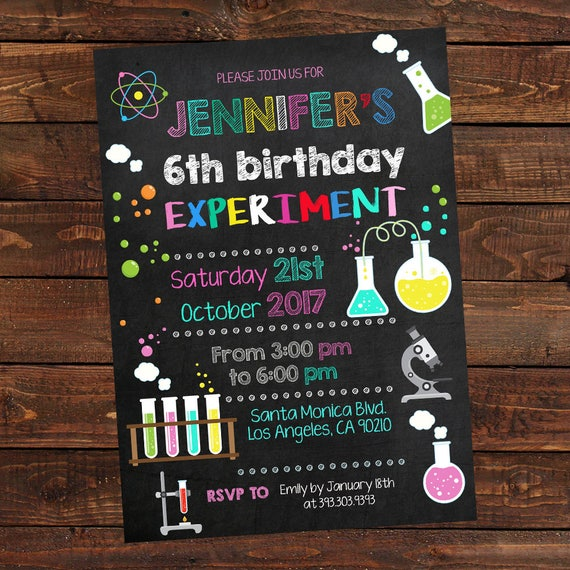 Science Girl Birthday Invitations Mad Science Party Science