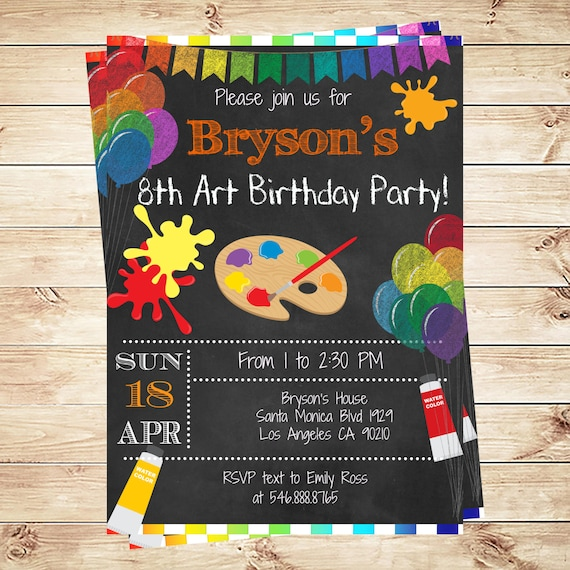 painting arts kids birthday party invitations printable art paint