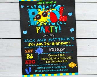 Pool Party Invitation - Twins Pool Birthday Invitations - Sibling birthday - Twins birthday party - #DPIJOT671