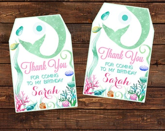 Mermaid tags digital. Mermaid Thank You Party Favor Tags. Kids Party Printable. Mermaid Decorations Mermaid Birthday Favor Tag.