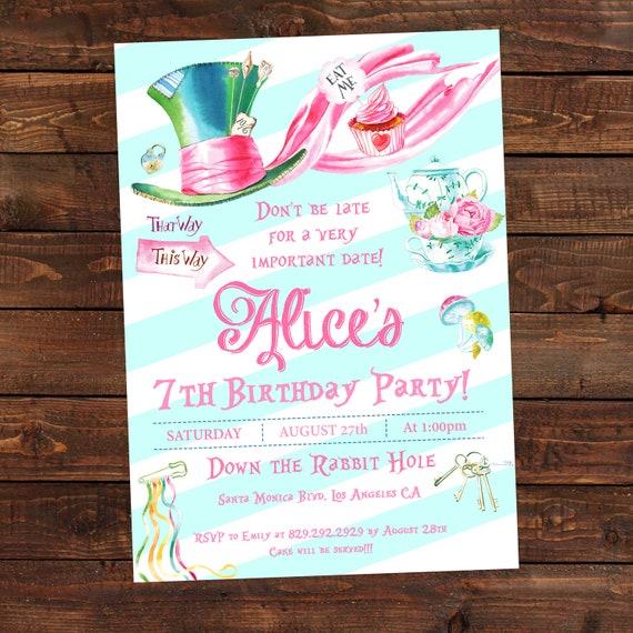 Alice In Wonderland Birthday Invitations Alice Tea Party