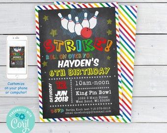 Kids bowling invite etsy bowling birthday party invitations boys bowling party invitations strike bowling invitations edit on filmwisefo