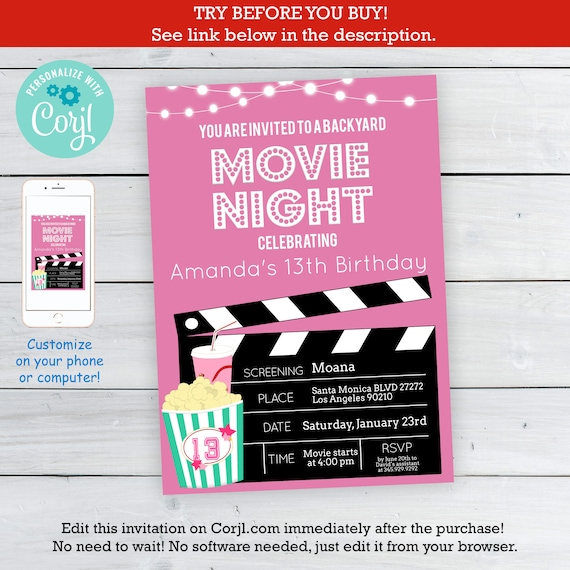 Pink Girls Movie Night Party Invitation