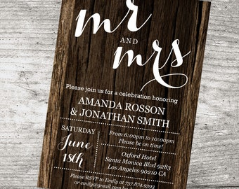Mr and Mrs Rustic Invitation - Wedding Rustic Wood Invites -  Rustic Wedding Template - Wood Wedding Invitation by DIY Party Invitation -