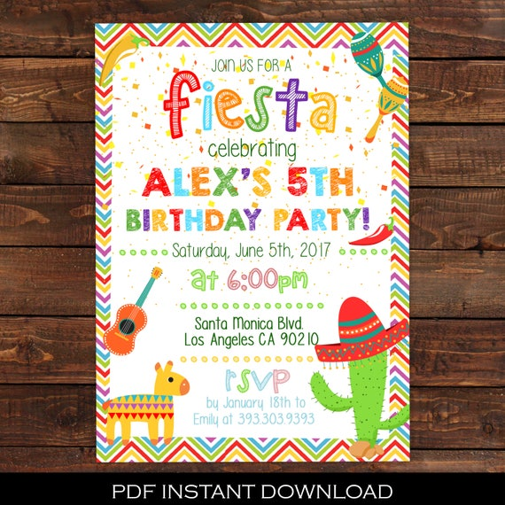 fiesta invitation mexican party invitation fiesta birthday party