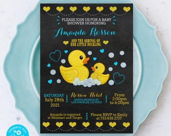 Rubber duck baby shower invitation - Printable baby shower invitation boy - Chalkboard rubber duck - Fully Editable Text on Corjl