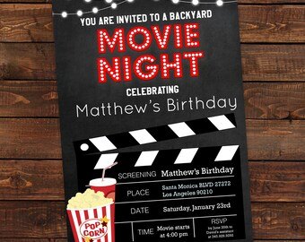 Printable Backyard Movie Night Party Invitation | Movie Night Invitation | movie night birthday party invitations | DIY Party Invitation