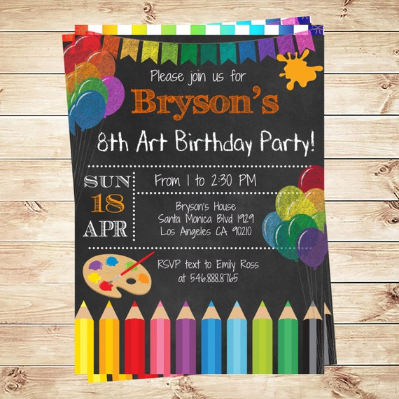 art party invitations printables birthday party invitations art