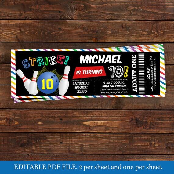 Bowling Invitation | Ticket Bowling Birthday Invitation Bowling Printable Bowling