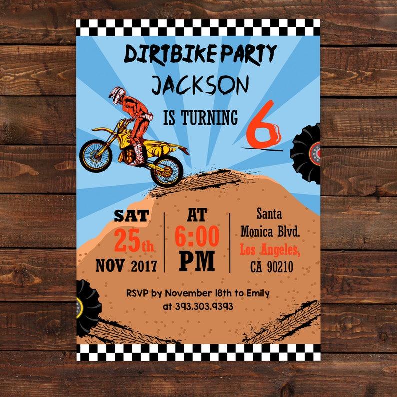 Motocross Birthday Invitation - Motocross Party Invitation - Boys Birthday  Invites - dirtbikes - PDF Editable #DPI987MT