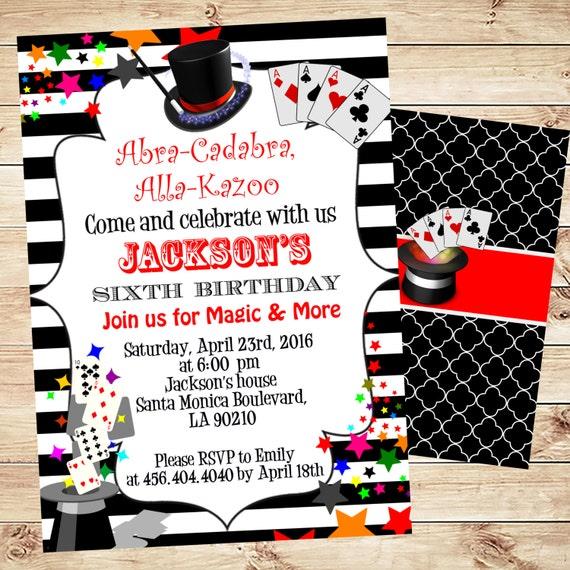 magic birthday party invitation printable birthday party etsy
