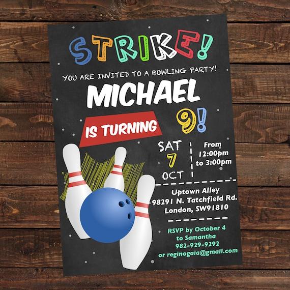 bowling birthday invitation boy printable bowling invitation