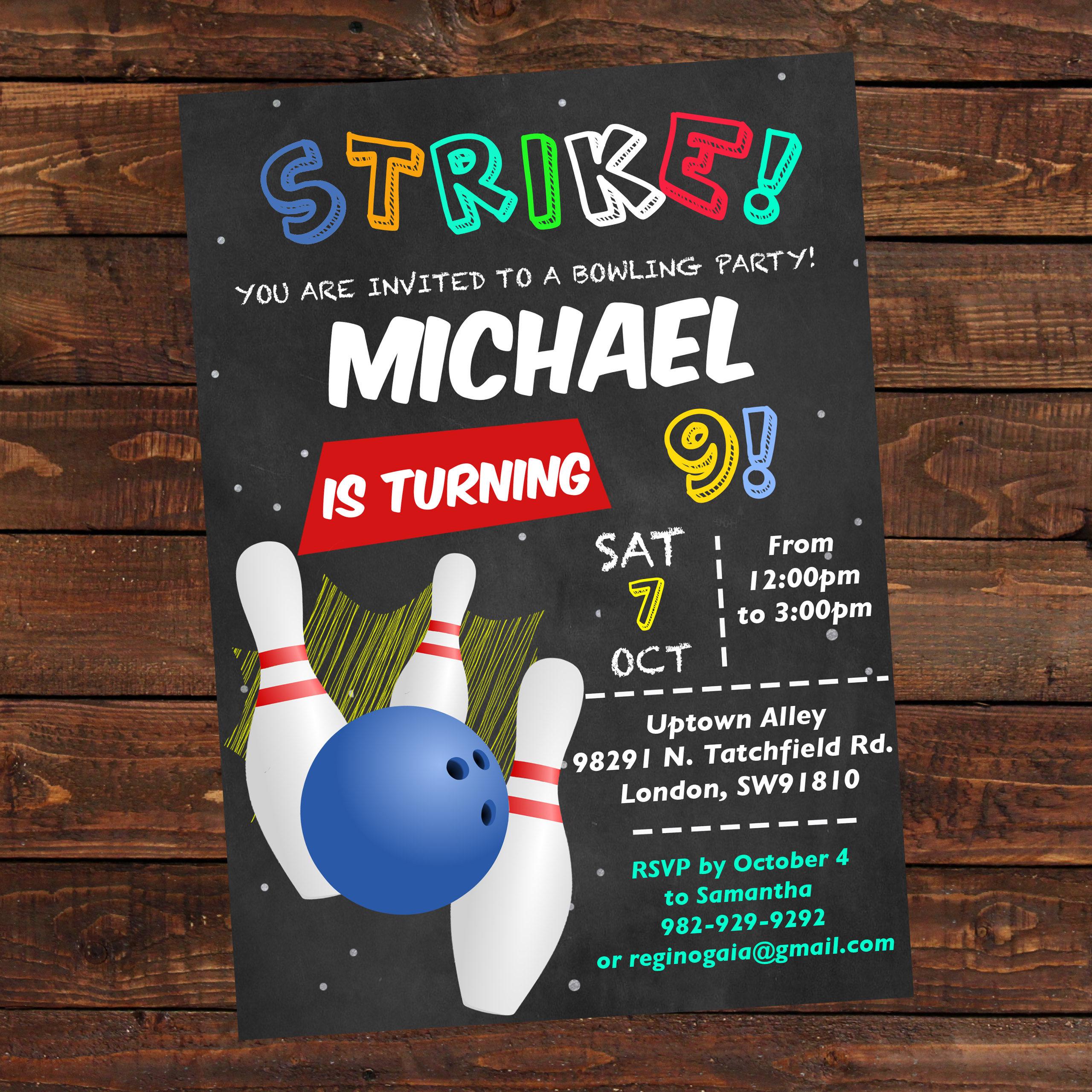 bowling birthday invitation boy printable bowling