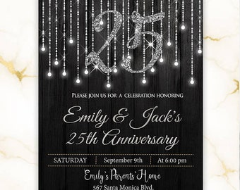Silver Wedding Anniversary Invitation. Anniversary Party Invitation. Anniversary Invitations 25 Years. Silver Lights. Printed or Digital